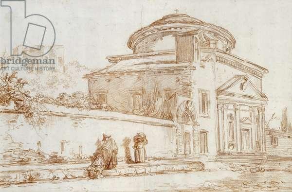 Villa Sacchetti, Rome (red chalk on paper)