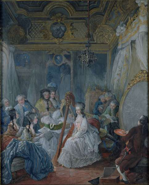 Marie Antoinette (1755-93) in her chamber at Versailles in 1777 (gouache on paper)
