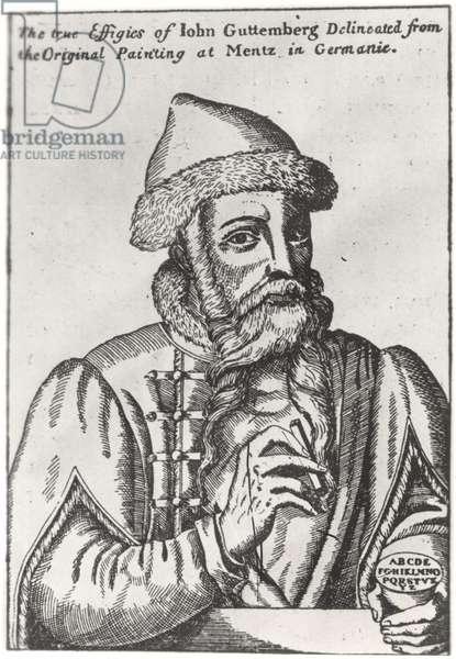 Portrait of Johannes Gutenberg (c.1400-68) (engraving) (b/w photo)
