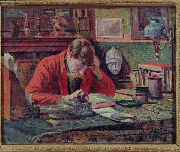 Emile Verhaeren (1855-1916) in his Study, c.1897 (oil on panel)