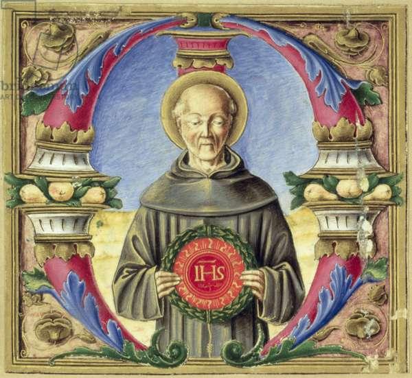 Historiated initial 'M' depicting St. Bernardino of Siena (vellum)