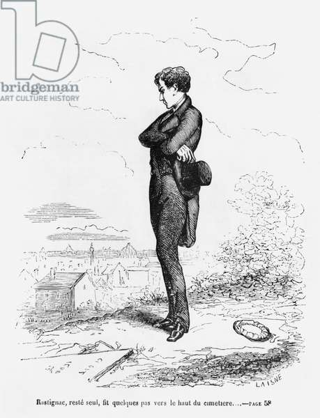 'Left alone, Rastignac walked a few steps to the highest part of the cemetery', illustration from 'Le Pere Goriot' by Honore de Balzac (1799-1850) (engraving) (b/w photo)