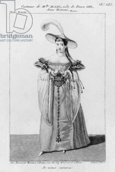 Costume Design for Mademoiselle Mars in the Role of Dona Sol, in 'Hernani' by Victor Hugo (engraving)