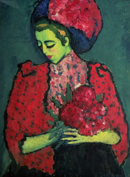 Young Girl with Peonies, 1909 (oil on canvas)