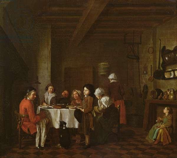 Interior scene, family meal (oil on canvas)