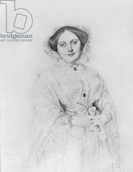 Portrait of Madame Ingres, 1852 (pencil on paper)