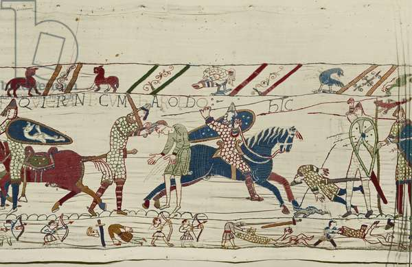 The Normans kill those who have been with King Harold, Bayeux Tapestry (wool embroidery on linen)
