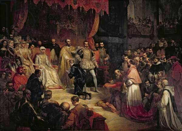 The Abdication of Charles V (1500-58) 1841 (oil on canvas)