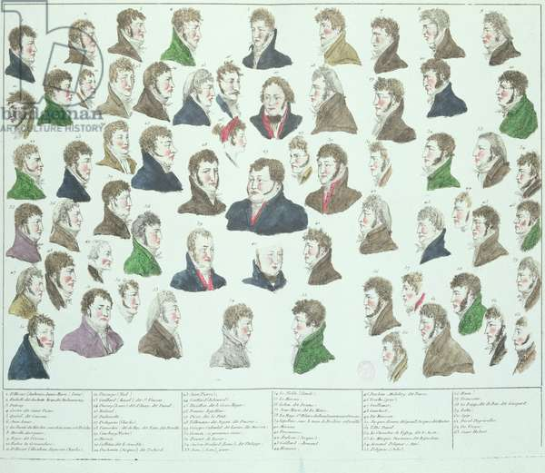 The Conspirators of the Plot to Kidnap and Murder Napoleon Bonaparte (1769-1821) 1804 (coloured engraving)