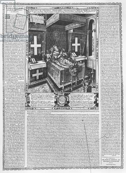 Henri IV (1553-1610) on his deathbed, 1610 (engraving) (b/w photo)