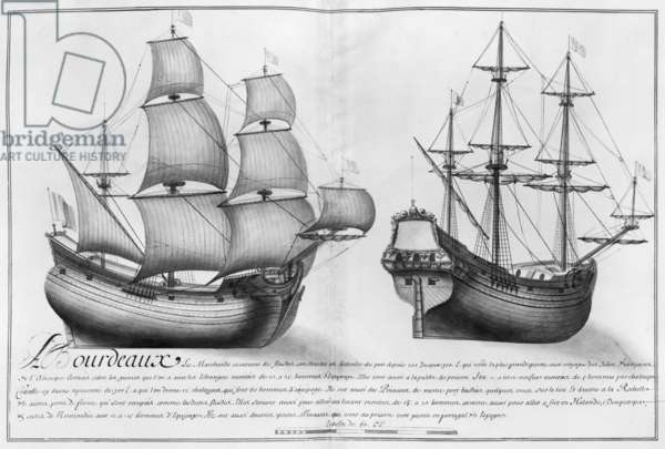 A Dutch store ship and a pinasse, Bordeaux, illustration from 'Desseins des various manners de navires... from Nantes to Bayonne... ', 1679 (pencil & w/c on paper) (b/w photo)