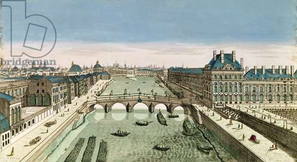 Perspective View of Paris from the Pont Royal (coloured engraving)