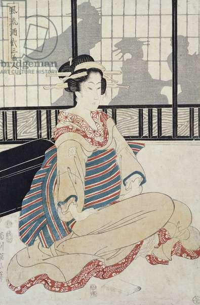 Seated Courtesan (colour woodblock print)