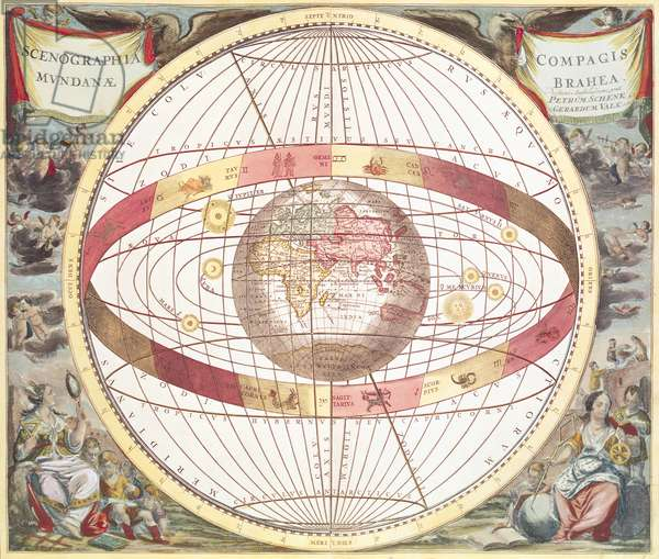 Planisphere, from 'Atlas Coelestis', engraved by Pieter Schenk (1660-1719) and Gerard Valk (1651-1726) (colour engraving)