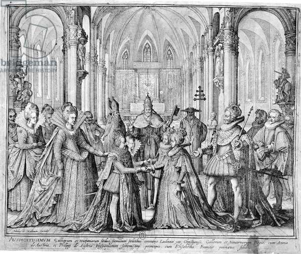 The Double Marriage in 1615 of Louis XIII (1601-43) to Anne of Austria (1601-66) and Philip of Austria (1605-65) future Philip IV of Spain to Elizabeth of France (1602-44) (engraving)