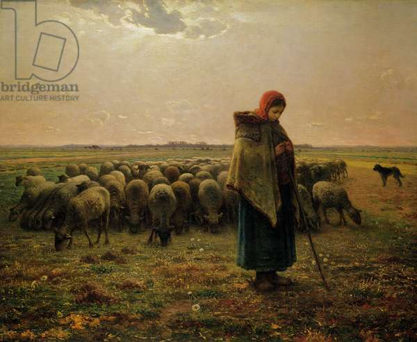 Shepherdess with her Flock, 1863 (oil on canvas)
