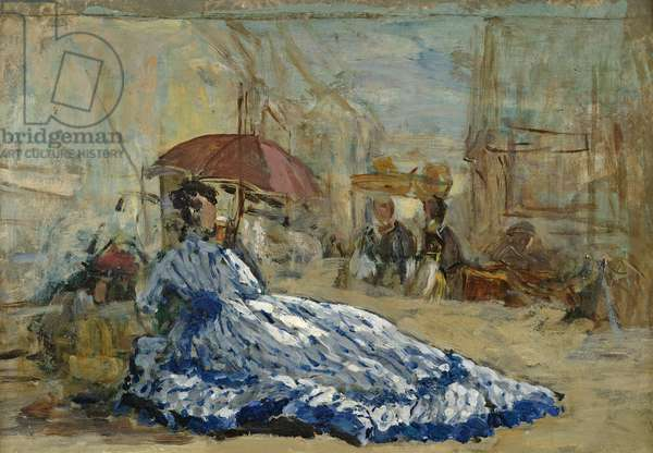 Woman in a blue dress under a parasol, c.1865 (oil on card)