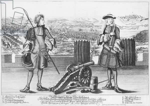 Charles V, Duke of Lorraine and Bar, with an engineer, at the battle of Neuhausel against the Turks in July and August 1685 (engraving) (b/w photo)