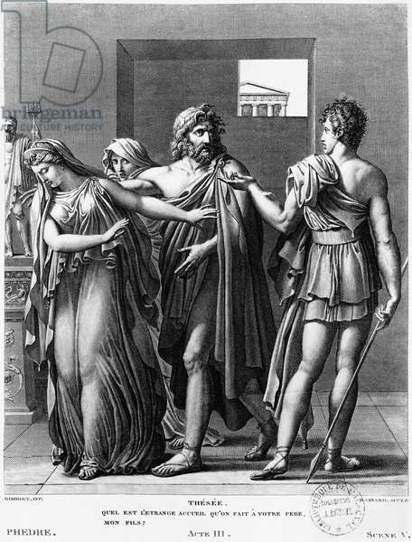 Phaedra, Theseus and Hippolytus, illustration from Act III Scene 5 of 'Phedre' by Jean Racine (1639-99) engraved by Raphael Urbain Massard (1775-1843) 1824 (engraving) (b/w photo)