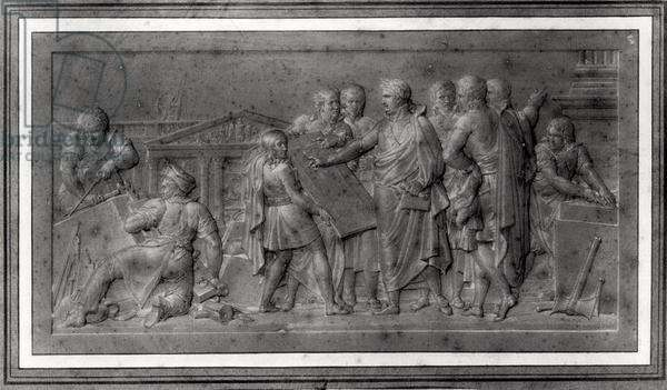 Improvements for Paris, study for a low relief, early 19th century (pencil on paper) (b/w photo)