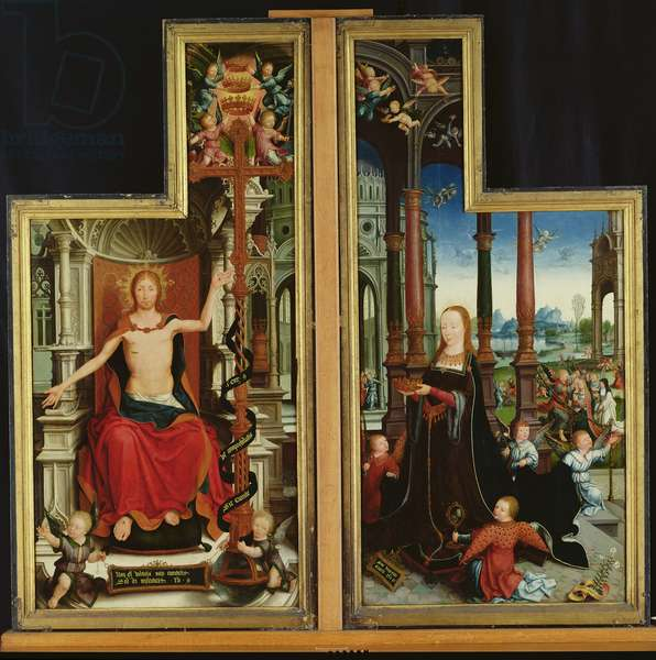 Polyptych of the Glorification of the Holy Trinity, panels depicting Christ Enthroned and the Virgin, 1509-15 (oil on panel)