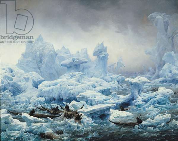 Fishing for Walrus in the Arctic Ocean, 1841 (oil on canvas)