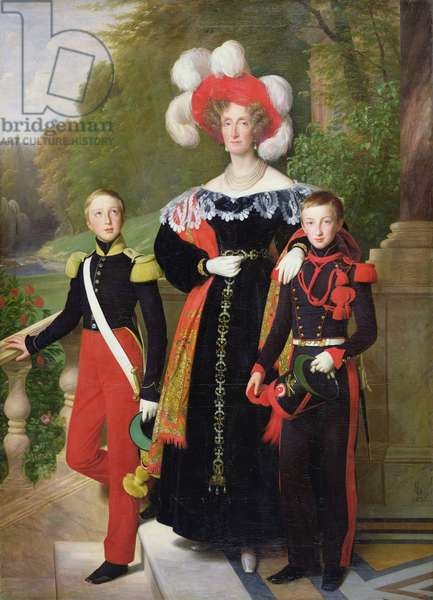 Marie Amelie of Bourbon-Sicile (1782-1866) and her sons, Henri of Orleans (1822-97) Duke of Aumale and Antoine (1824-90) Duke of Montpensier, 1835 (oil on canvas)