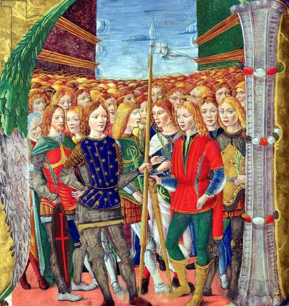 Historiated initial 'N' depicting St. Maurice and the Theban Legion, Lombardy School, c.1499-1511 (vellum)
