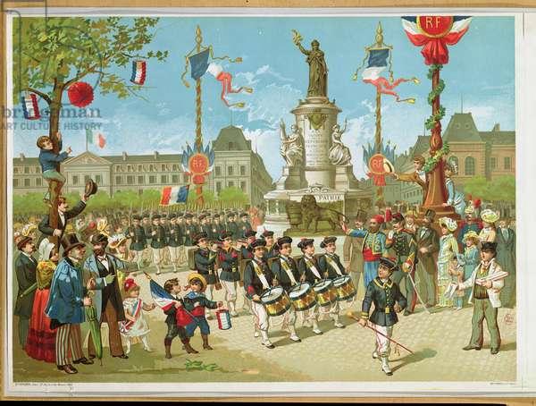 March-Past in the Place de la Republique, 14th July 1880 (litho)