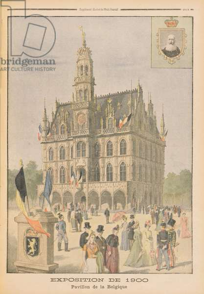 The Belgian Pavilion at the Universal Exhibition of 1900, Paris, illustration from 'Le Petit Journal', 8th July 1900 (colour litho)
