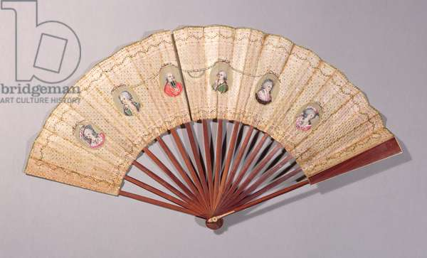Fan depicting characters involved in the Affaire du Collier, 1786 (w/c on paper)