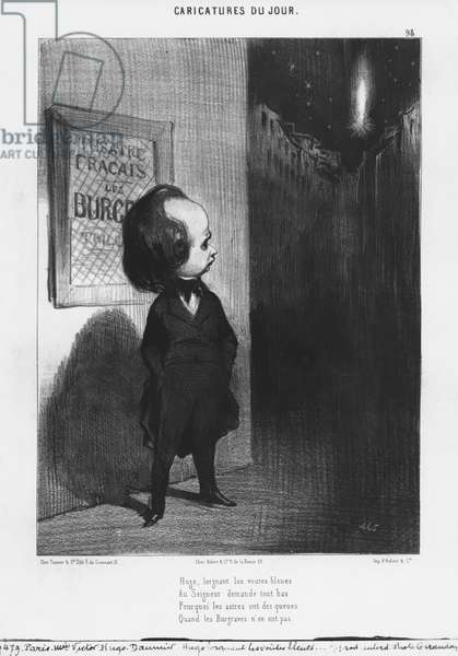 Series 'Caricatures du jour', caricature of Victor Hugo and his play 'Les Burgraves', plate 98, illustration from 'Le Charivari', 31st March 1843 (litho) (b/w photo)