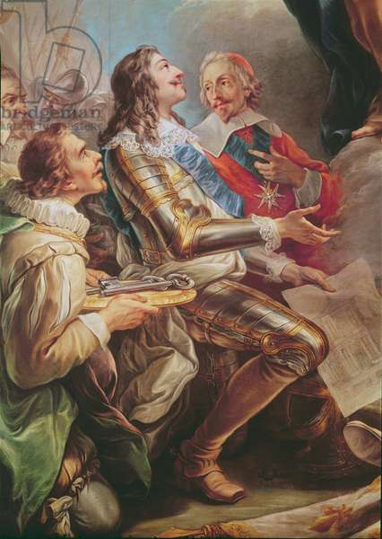 Louis XIII (1601-43) dedicating the Church of Notre-Dame-des-Victoires to the Virgin in 1629, detail of Louis XIII and Cardinal Richelieu (1581-1642) 1748-53 (oil on canvas)