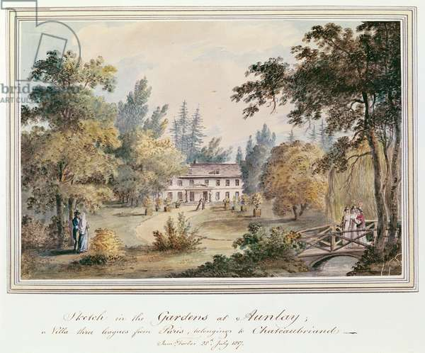 Sketch in the Gardens at Aulnay, 1817 (w/c on paper)