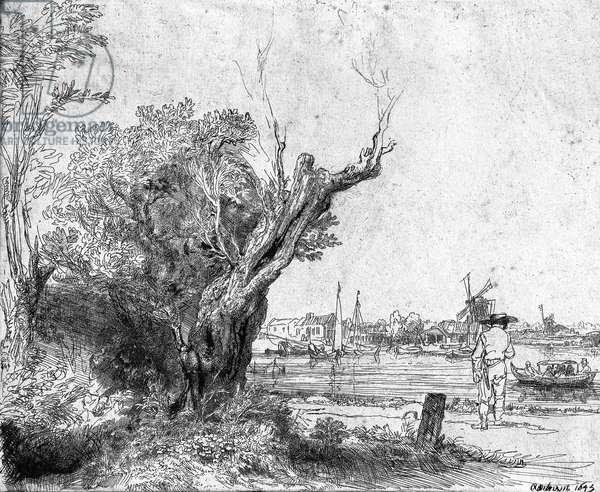 View of Omval, near Amsterdam, 1645 (etching) (b/w photo)