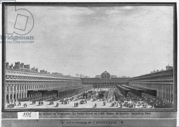 Garden of the Palais Royal, 1785 (w/c & pen & grey ink on paper)