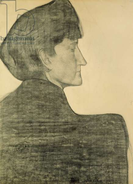 Profile of a woman, c.1890-92 (charcoal on paper)