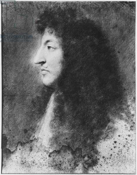 Portrait of Louis XIV, young, in profile to the left, c.1669-70 (pastel on grey beige paper)
