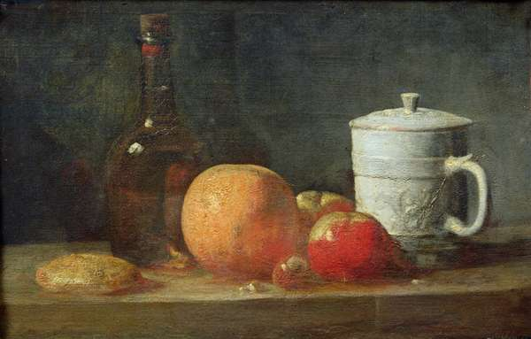 Still Life with Fruit and Wine Bottle (oil on canvas)