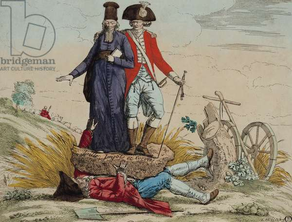 Revolutionary cartoon about 'Tithes, Taxes and Graft' (coloured engraving)