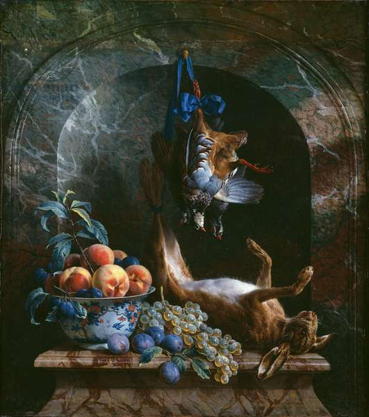 Still Life with Dead Game in a Marble Niche, 1706 (oil on canvas)