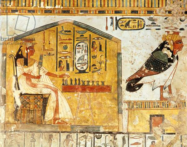 Nefertari playing senet, detail of a wall painting from the Tomb of Queen Nefertari, New Kingdom (fresco)