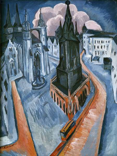 The Red Tower in Halle, 1915 (oil on canvas)