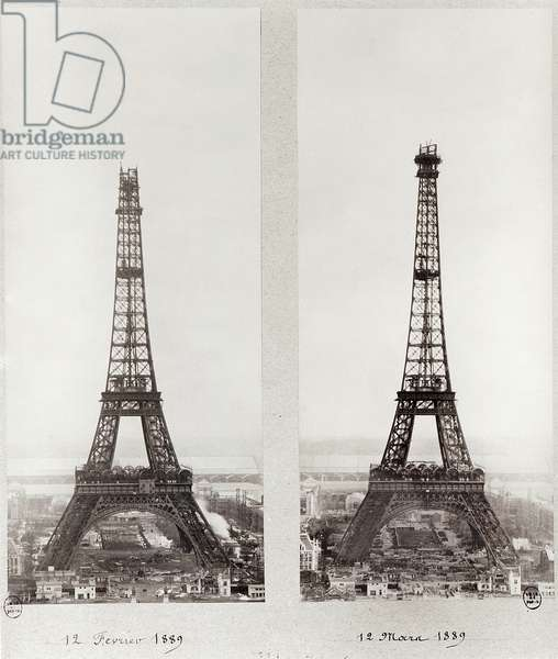 Two views of the construction of the Eiffel Tower, Paris, 12th February and 12th March 1889 (b/w photo)