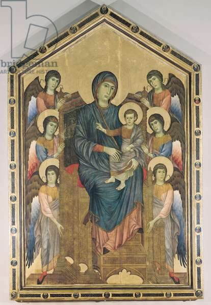 The Virgin and Child in Majesty surrounded by Six Angels, c.1270 (oil on panel)