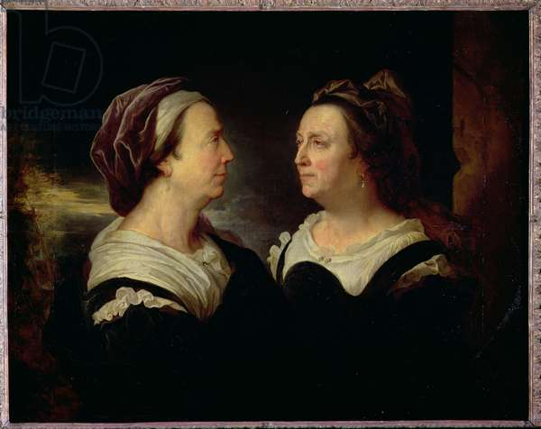 Double Portrait of Marie Serre, the artist's mother, 1695 (oil on canvas)