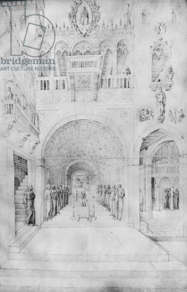 Death of the Virgin in the rich architecture of a Venetian palace, from the Jacopo Bellini's Album of drawings (pen & ink on vellum) (b/w photo)