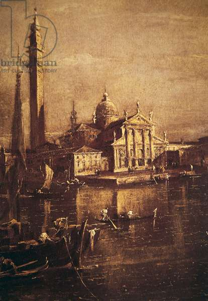 Church of San Giorgio and the Campanile, detail of The Basin of Saint Mark's Square, c.1774 (oil on canvas) (detail of 257874)