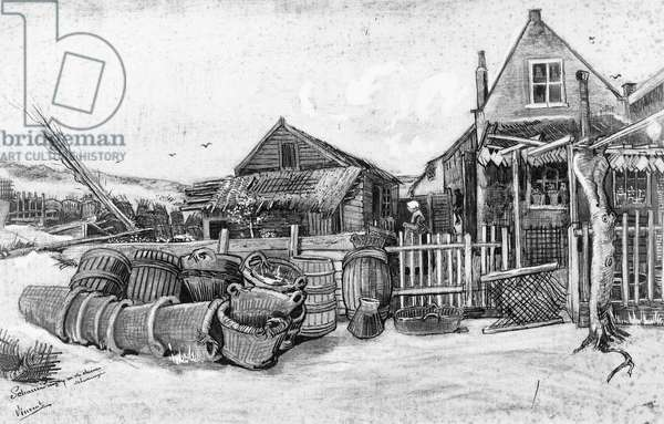 The fish drying barn at Scheveningen, c.1882 (pencil on paper) (b/w photo)