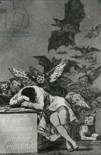 The Sleep of Reason Produces Monsters, from 'Los Caprichos' (engraving) (b/w photo) (see also 81662)